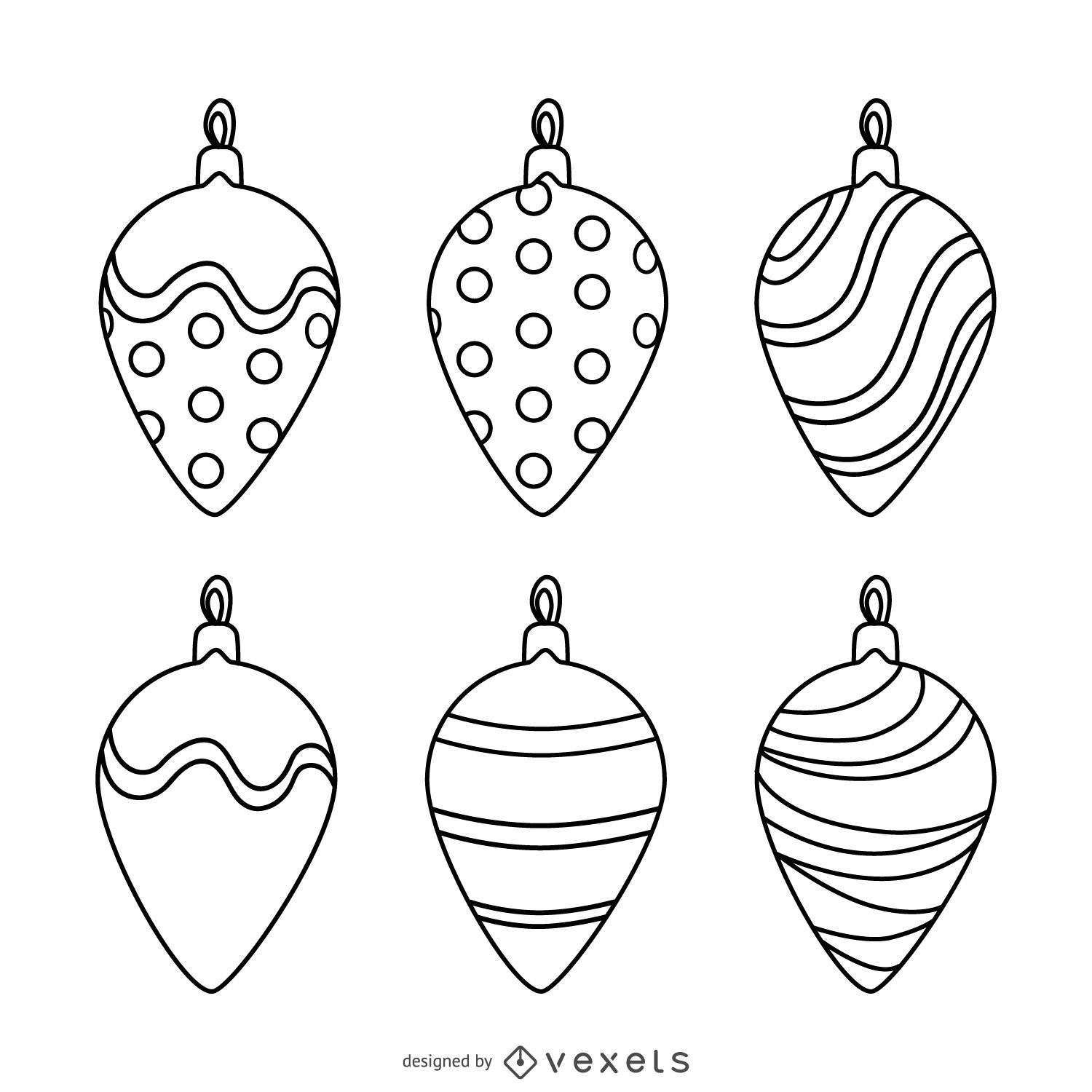 Christmas decoration outlines set vector download for Angel tree decoration template