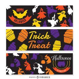 Halloween illustration banner set