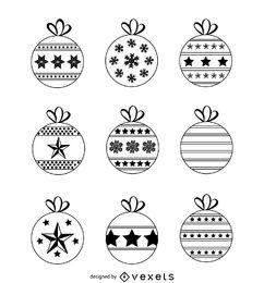 Conjunto de adornos navideños dibujados