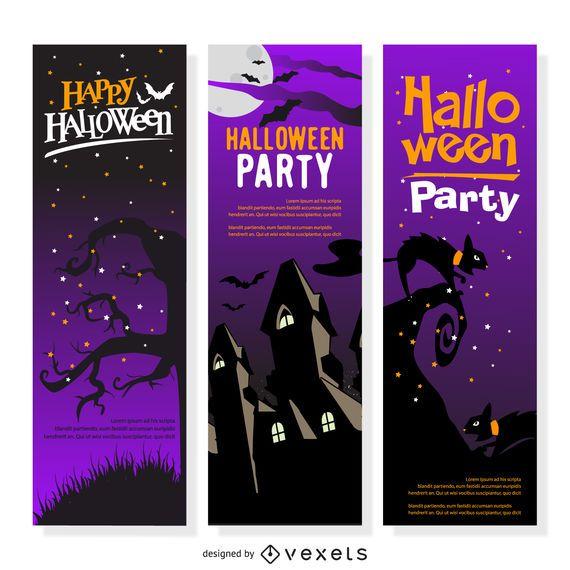3 Halloween party flyer set