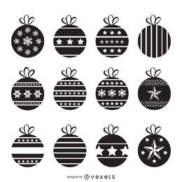 Christmas decorations silhouette set