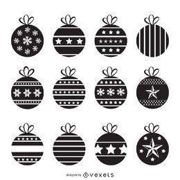 Conjunto de silueta de decoraciones de Navidad