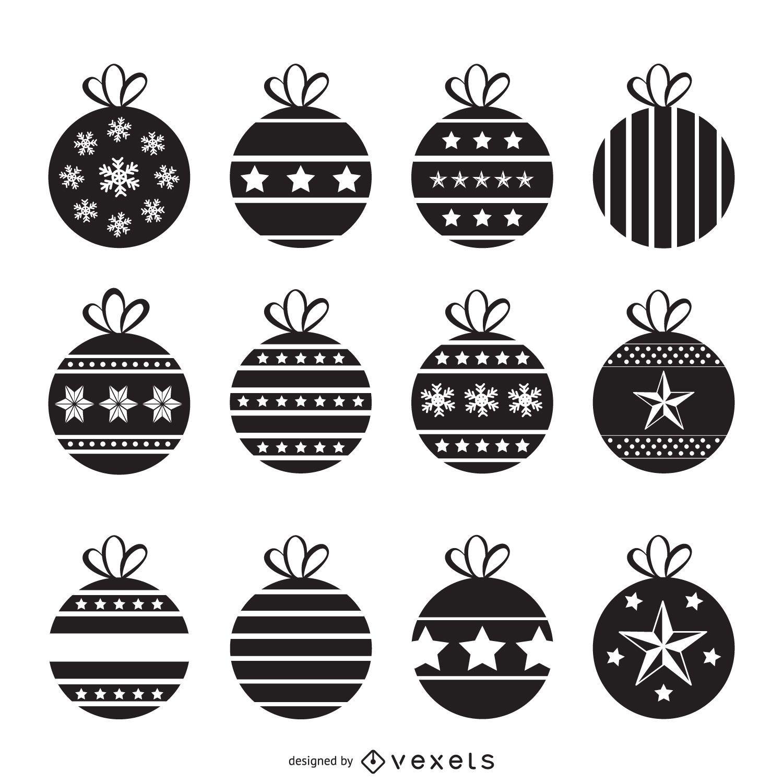 Decorative frames set download free vector art stock graphics - Christmas Decorations Silhouette Set Vector Download