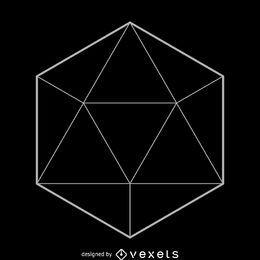 Diseño de geometría sagrada simple de icosaedro.