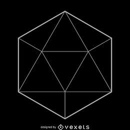 icosaedro design simples geometria sagrado