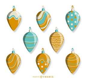 Xmas illustrated ornaments set