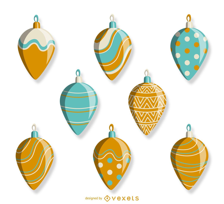 Xmas illustrated ornaments set