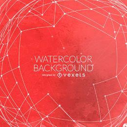 Roter Aquarellhintergrund mit Ineinander greifen