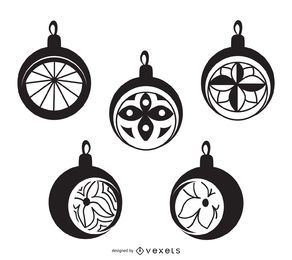 B&W Christmas ball ornaments set