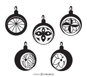 Conjunto de adornos de bolas de Navidad en blanco y negro