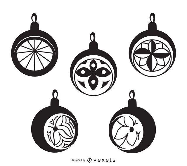 Adornos de bolas de navidad en blanco y negro