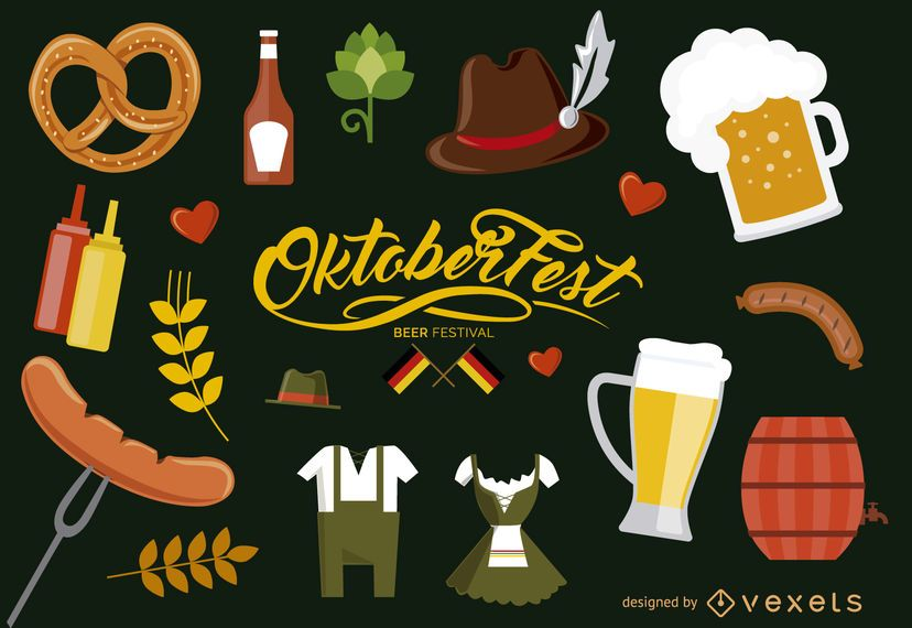 Oktoberfest Germany elements set