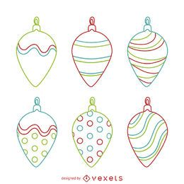 Linear Christmas ornament set