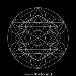 Projeto de geometria sagrada de elementos do círculo