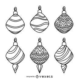 Christmas decoration outlines collection