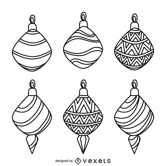 Christmas decoration outlines collection vector download