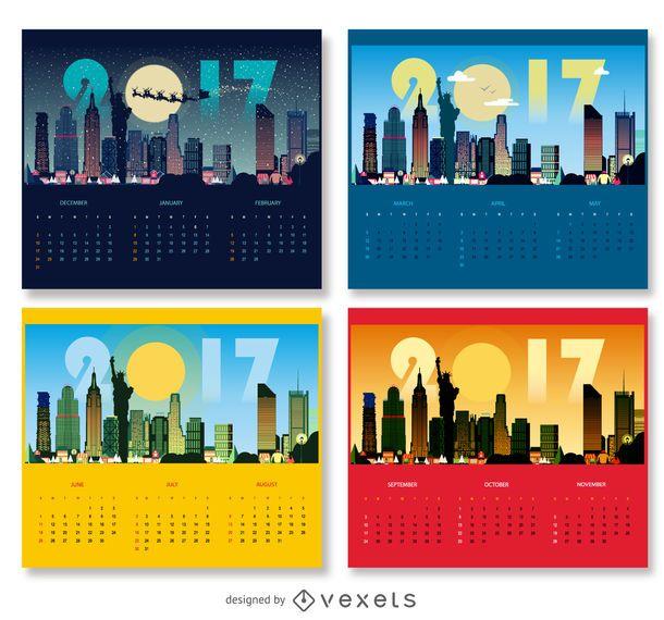 Diseño de calendario de Nueva York 2017
