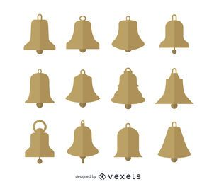 Gold Christmas bells silhouettes