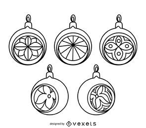 Conjunto de contornos de enfeite de Natal clássico