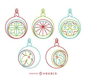 Christmas circle ornament outlines