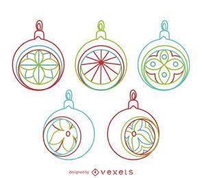 Contornos de adornos de círculo de Navidad