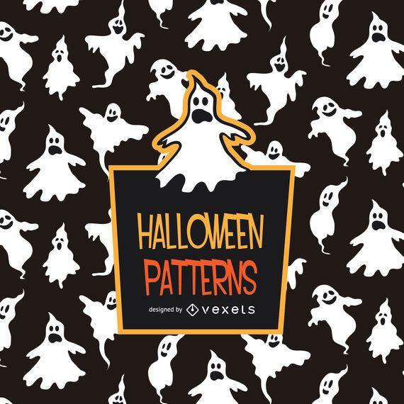 Spooky Halloween ghost pattern
