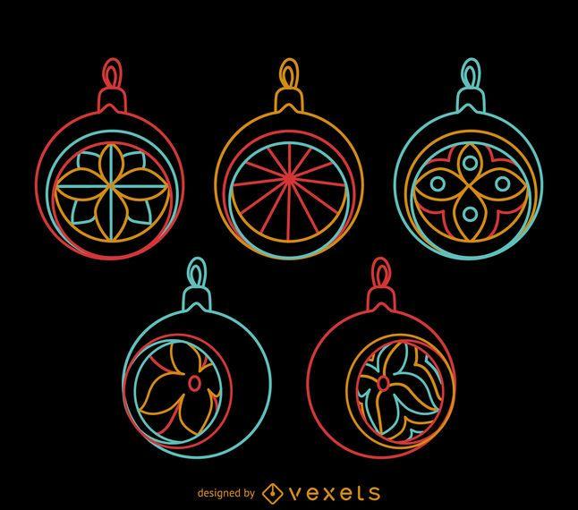 Neon round Xmas ornaments