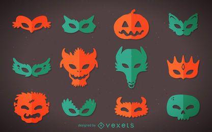 coloridas máscaras de monstruos de Halloween