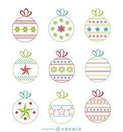 Bolas de Natal com desenhos de conjunto