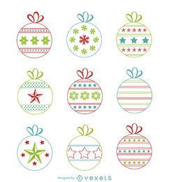 Christmas balls with designs set