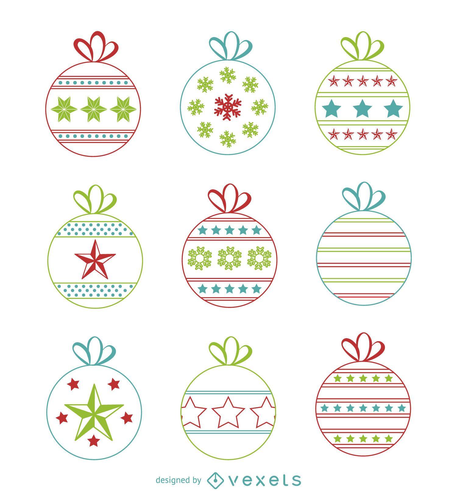 Christmas balls with designs set
