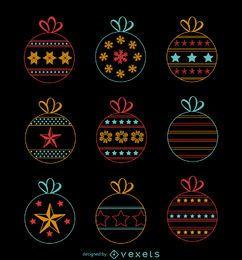 Colección de decoración navideña neon.