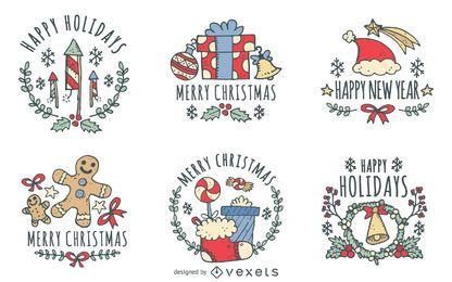 Conjunto de etiqueta de Natal mão desenhada