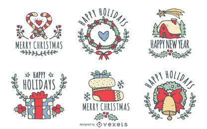 Coleção de distintivo de rótulo de Natal