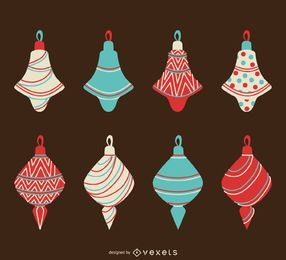 Christmas retro ornament set