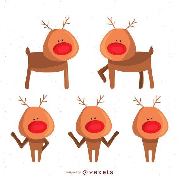 Conjunto de Reno de Navidad ilustrada  Descargar vector