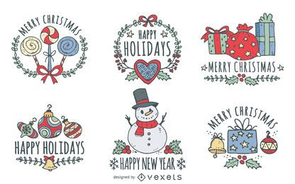 Conjunto de saudações de Natal de mão desenhada