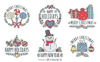 Dibujado a mano conjunto de saludos de Navidad