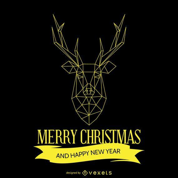 Geometric Christmas deer design