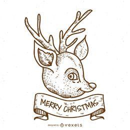 Diseño de ciervo navideño dibujado a mano