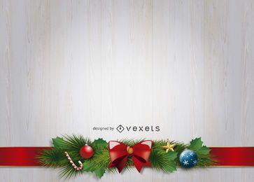 Christmas ribbon ornaments background