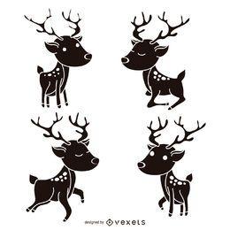 Reindeer silhouette set