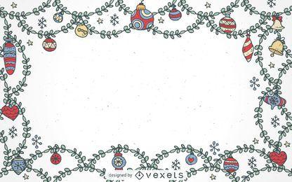 Quadro de enfeites de Natal de mão desenhada