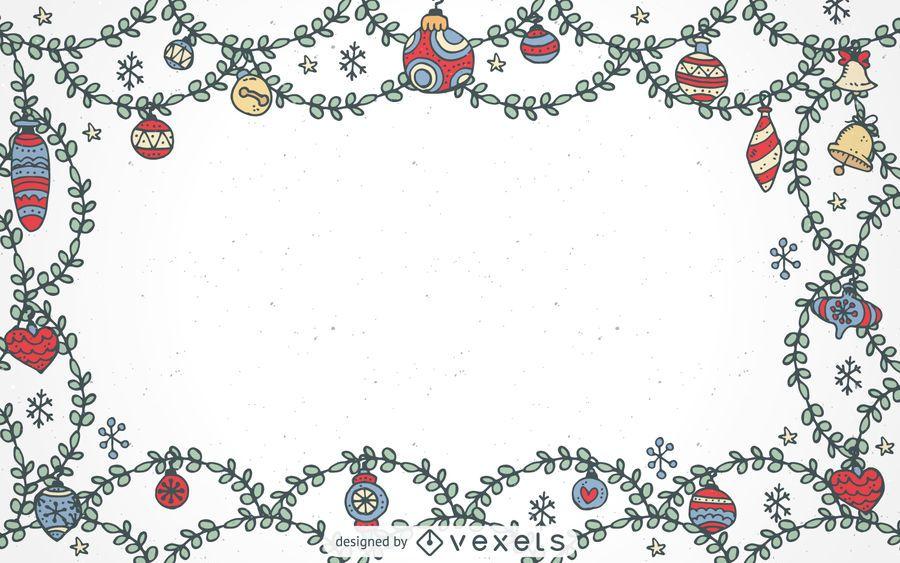 Dibujado a mano marco ornamentos de navidad descargar vector - Ornamentos de navidad ...