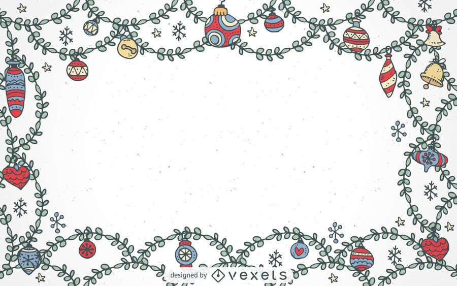 Hand drawn Christmas ornaments frame - Vector download