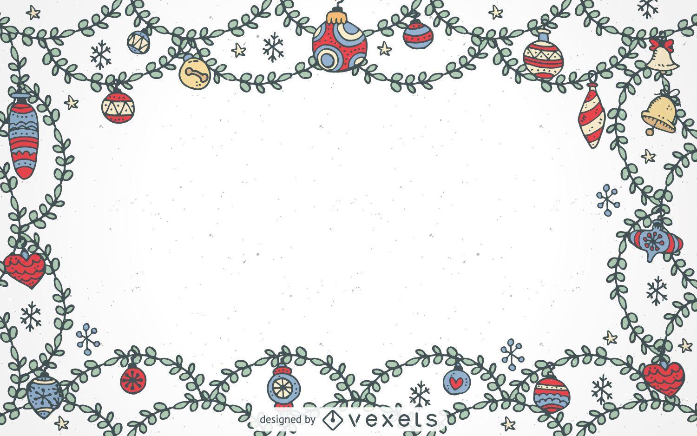 Marco de adornos navideños dibujados a mano