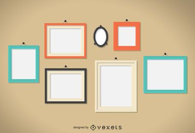 Conjunto de ilustración de marcos de pared