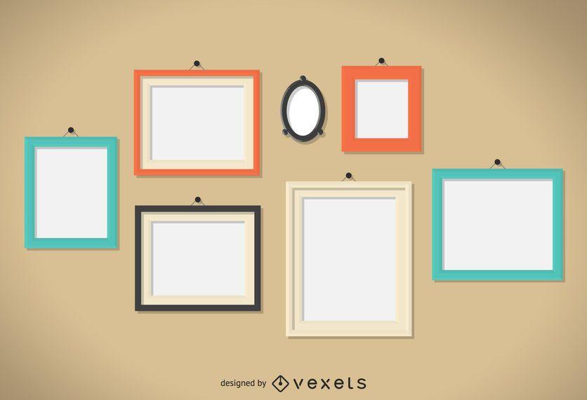 Conjunto de ilustração de quadros de parede