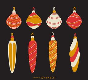 Gestreifter Ornamentsatz für Weihnachten