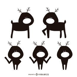 Reindeer cartoon silhouette set